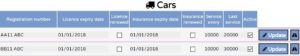 View and edit all cars vehicles registered in the movers system
